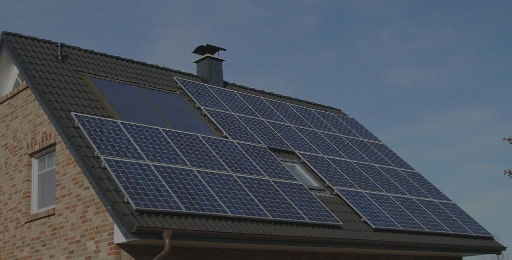 PV solar panels on the roof of a house